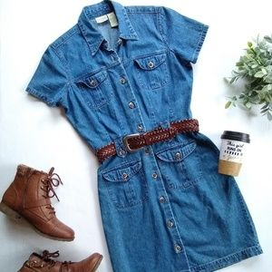Vintage denim button front dress with belt
